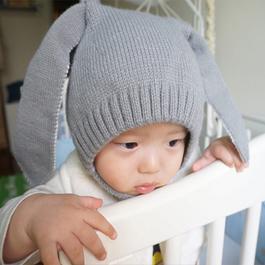 可愛長耳兔兔針織毛線帽