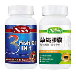 【舒暢快纖組】紐萊特草纖膠囊+三合一FU複方魚油